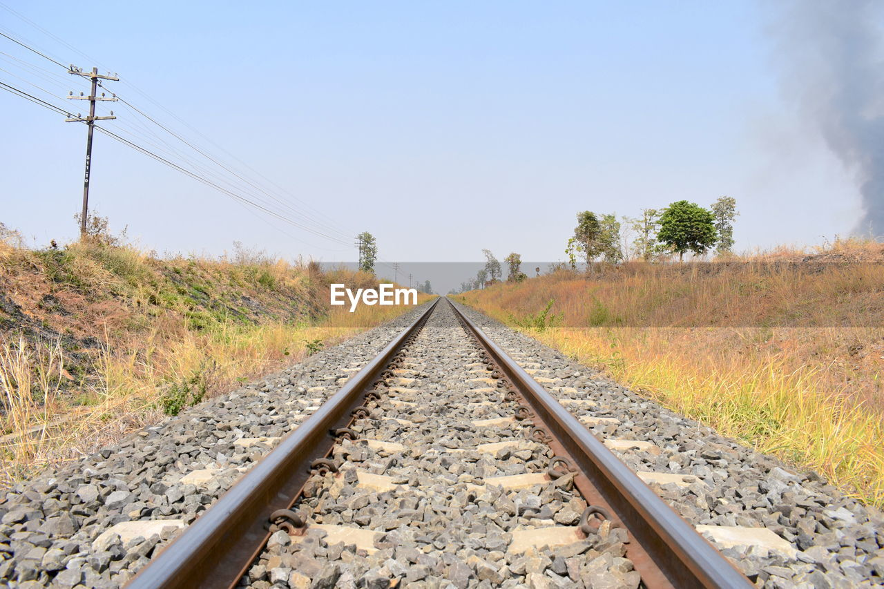 railroad track, transportation, diminishing perspective, rail transportation, nature, the way forward, railroad tie, landscape, day, no people, clear sky, tree, outdoors, scenics, beauty in nature, sky