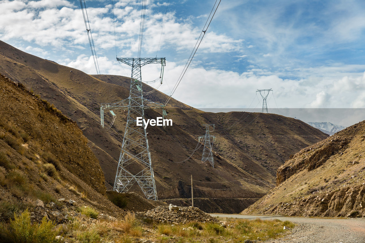 High voltage power transmission pylon in the mountains, kyrgyzstan