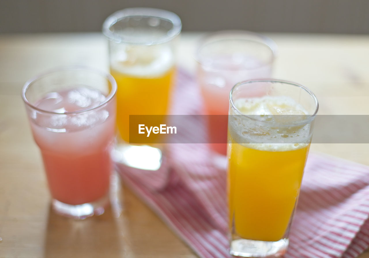 Juice in glasses on table