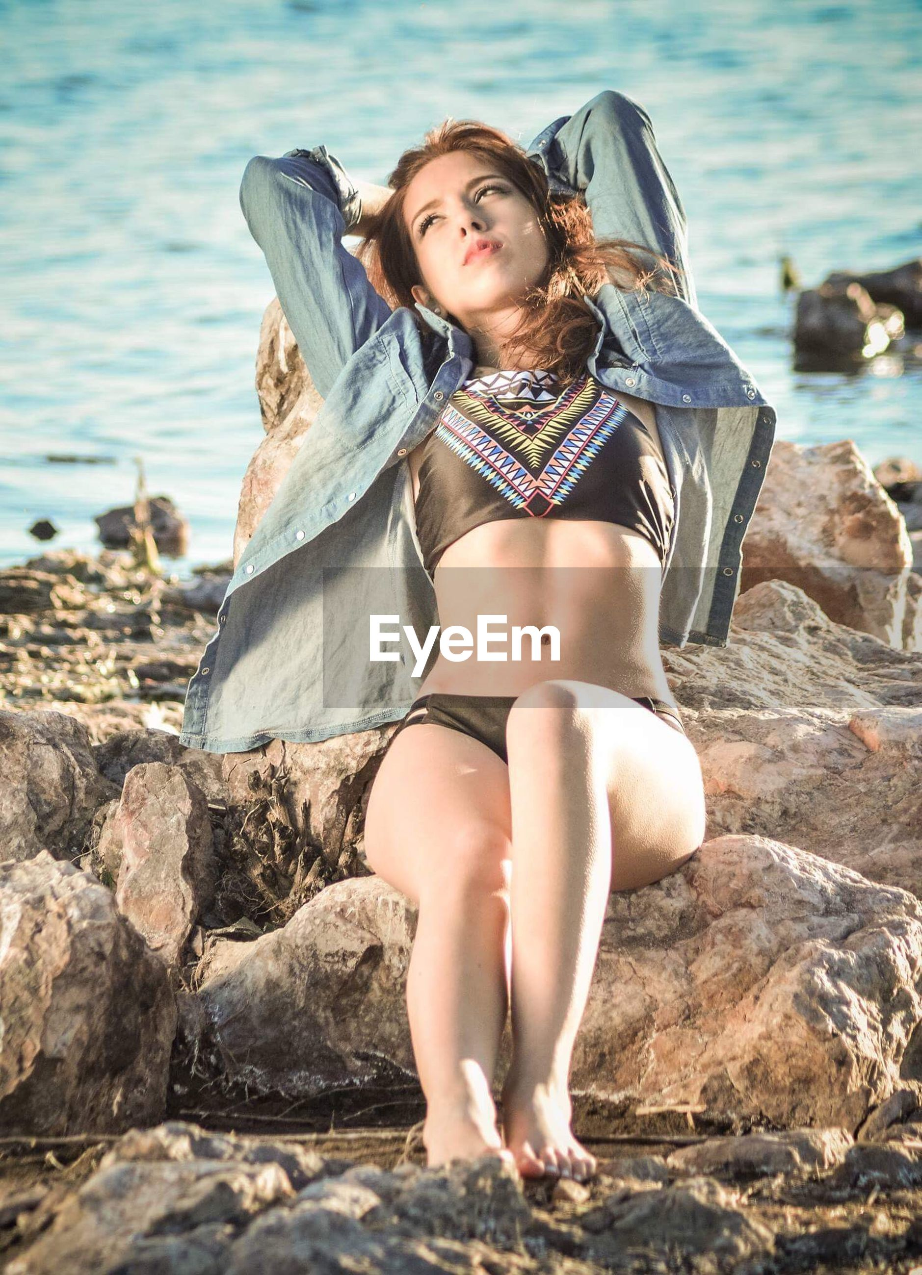 young women, young adult, water, sea, full length, beauty, sensuality, person, beach, long hair, fashion, leisure activity, front view, casual clothing, shore, seductive women, seashore, looking at camera, fashionable, nature, day, scenics, outdoors, tranquil scene