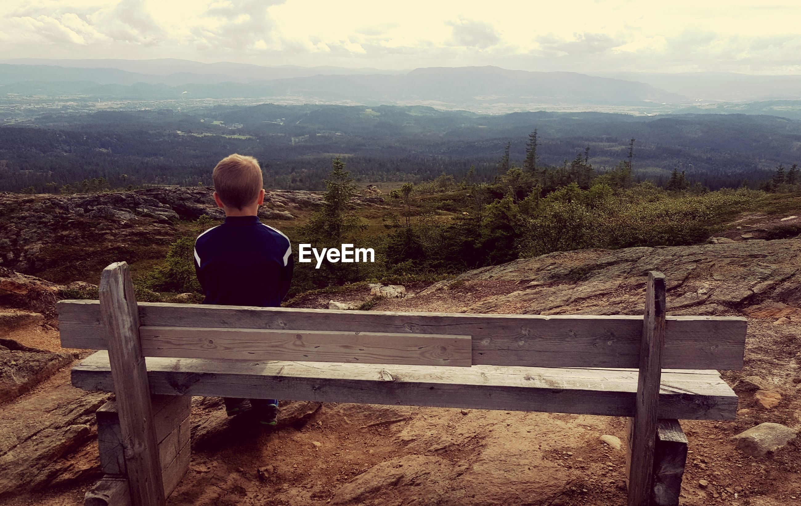 Rear view of boy sitting on bench at mountain against sky