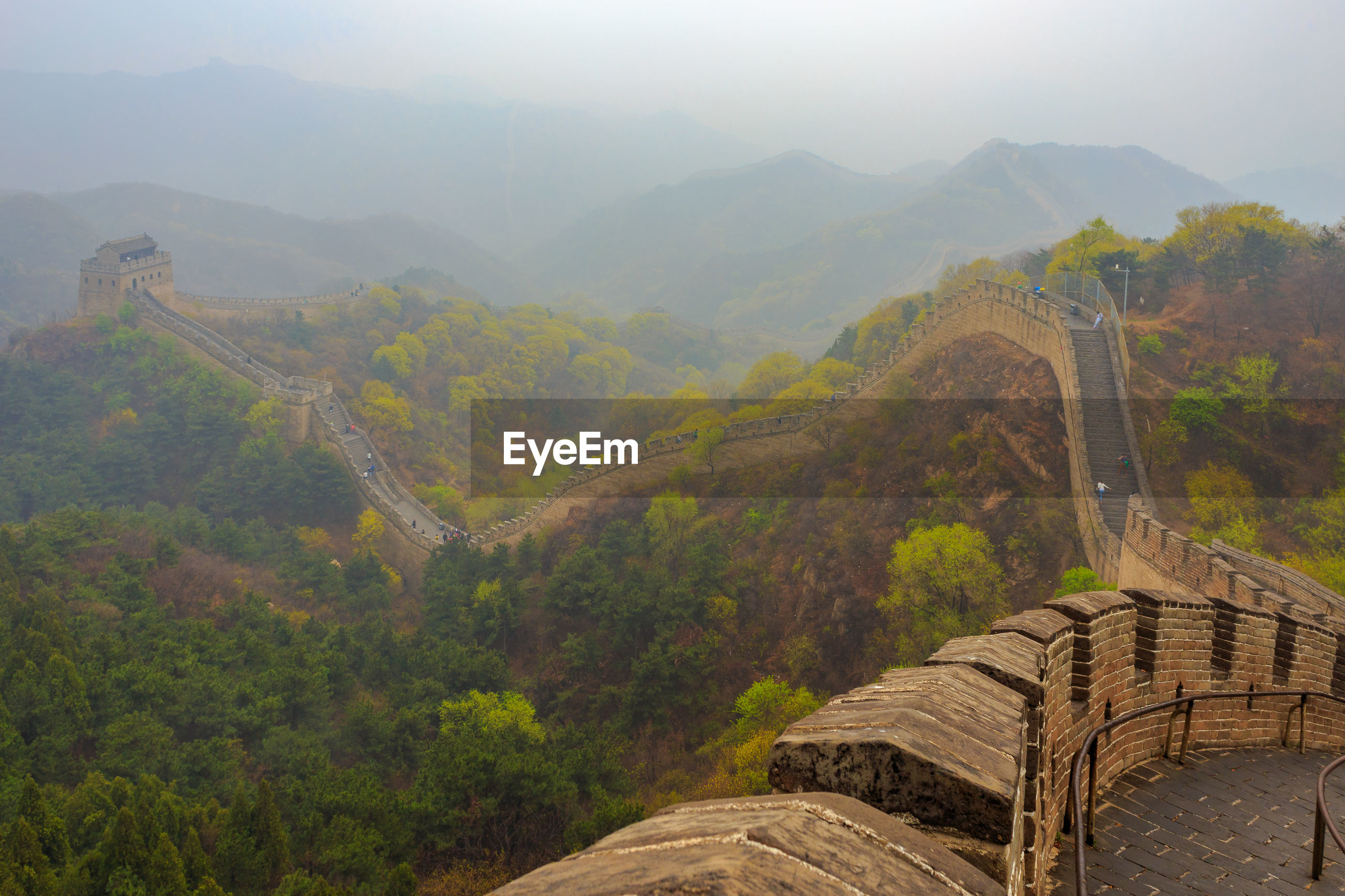Scenic view of mountain range at the great wall in badaling against sky