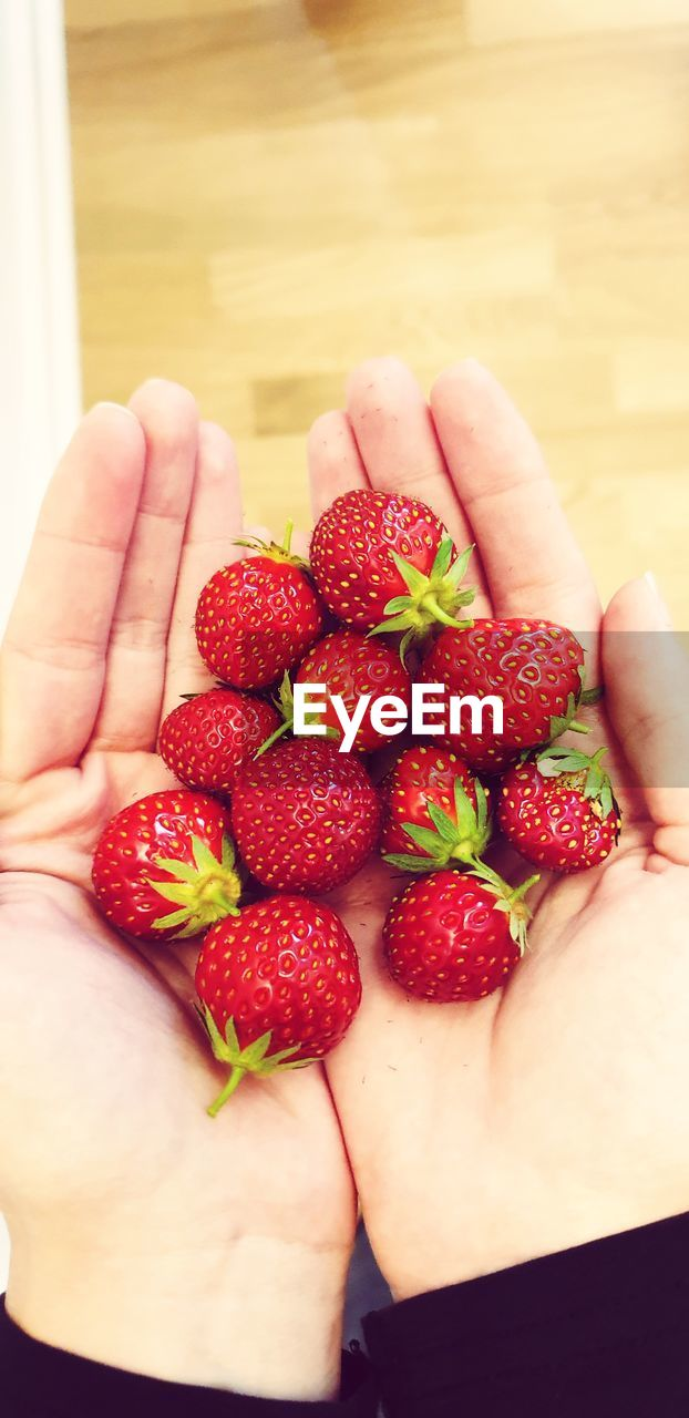 human hand, fruit, one person, healthy eating, berry fruit, hand, human body part, red, wellbeing, strawberry, freshness, real people, food and drink, food, holding, close-up, body part, finger, human finger, indoors, ripe