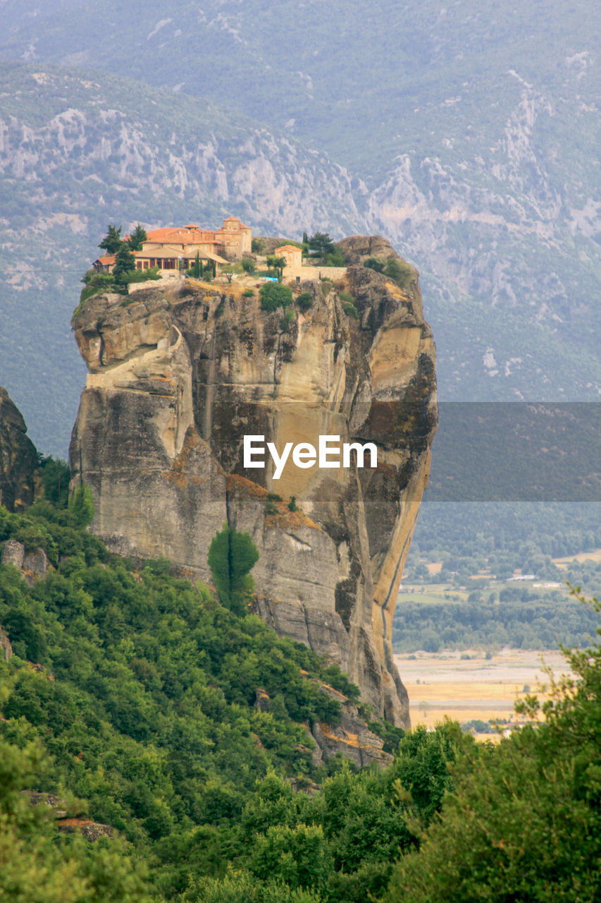 Roussanou monastery at meteora, greece. monasteries of meteora is a picturesque religious complex