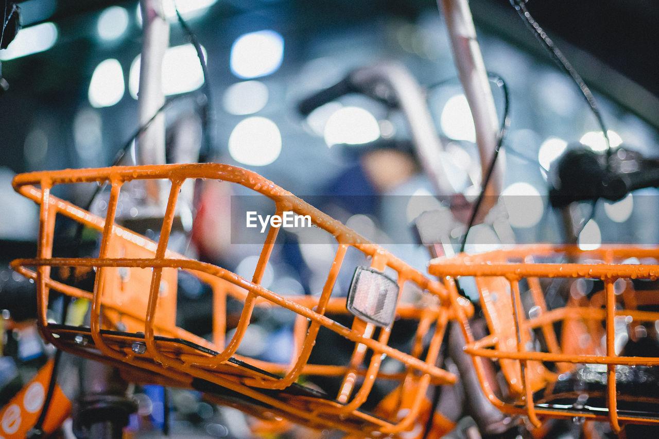 Close-up of bicycle basket