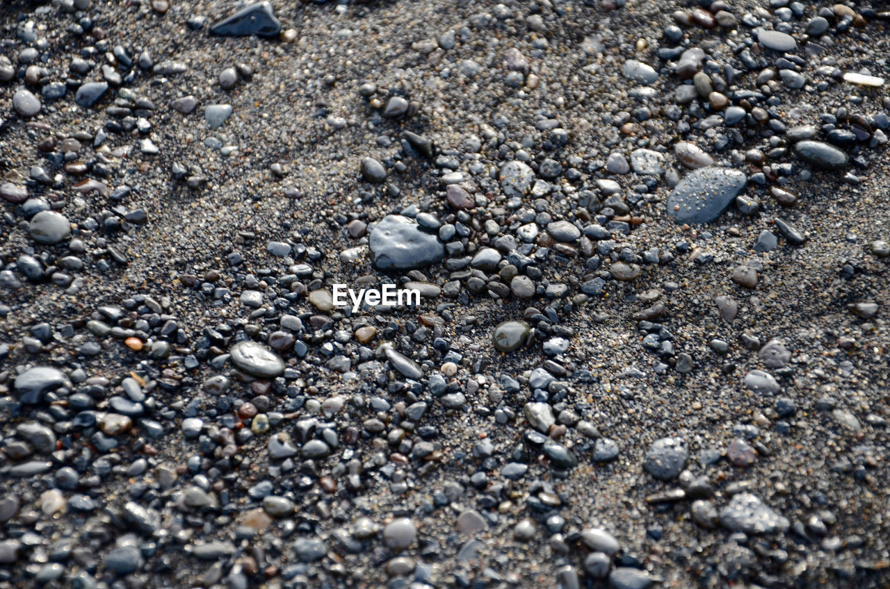 beach, pebble, shore, nature, sand, no people, day, high angle view, outdoors, backgrounds, pebble beach, textured, close-up, beauty in nature