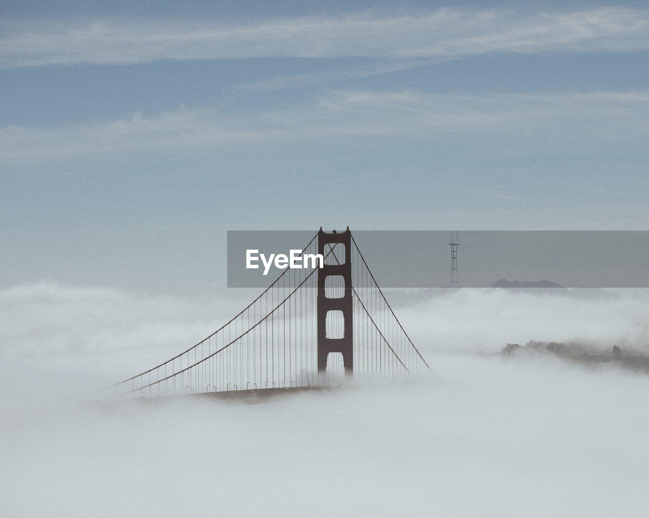 view of foggy suspension bridge