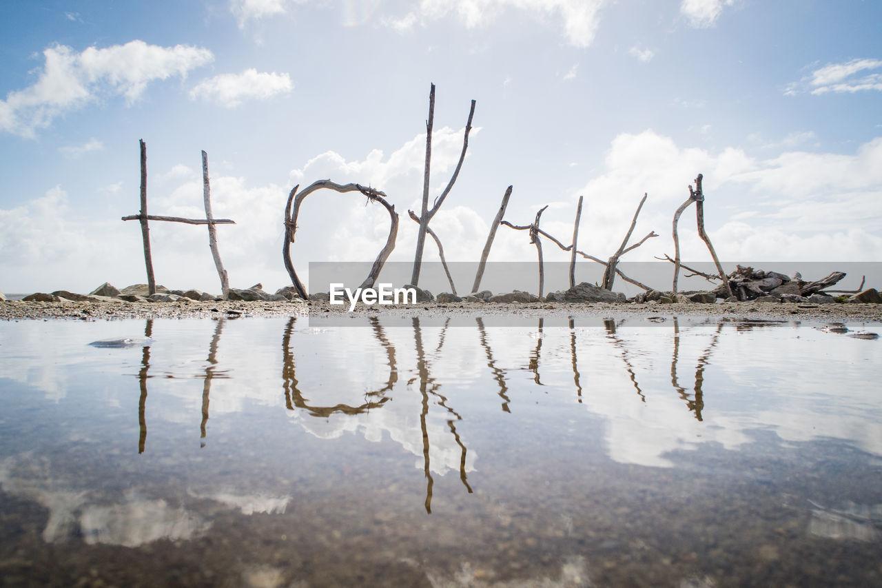 Surface Level Of Hokitika Text At Beach