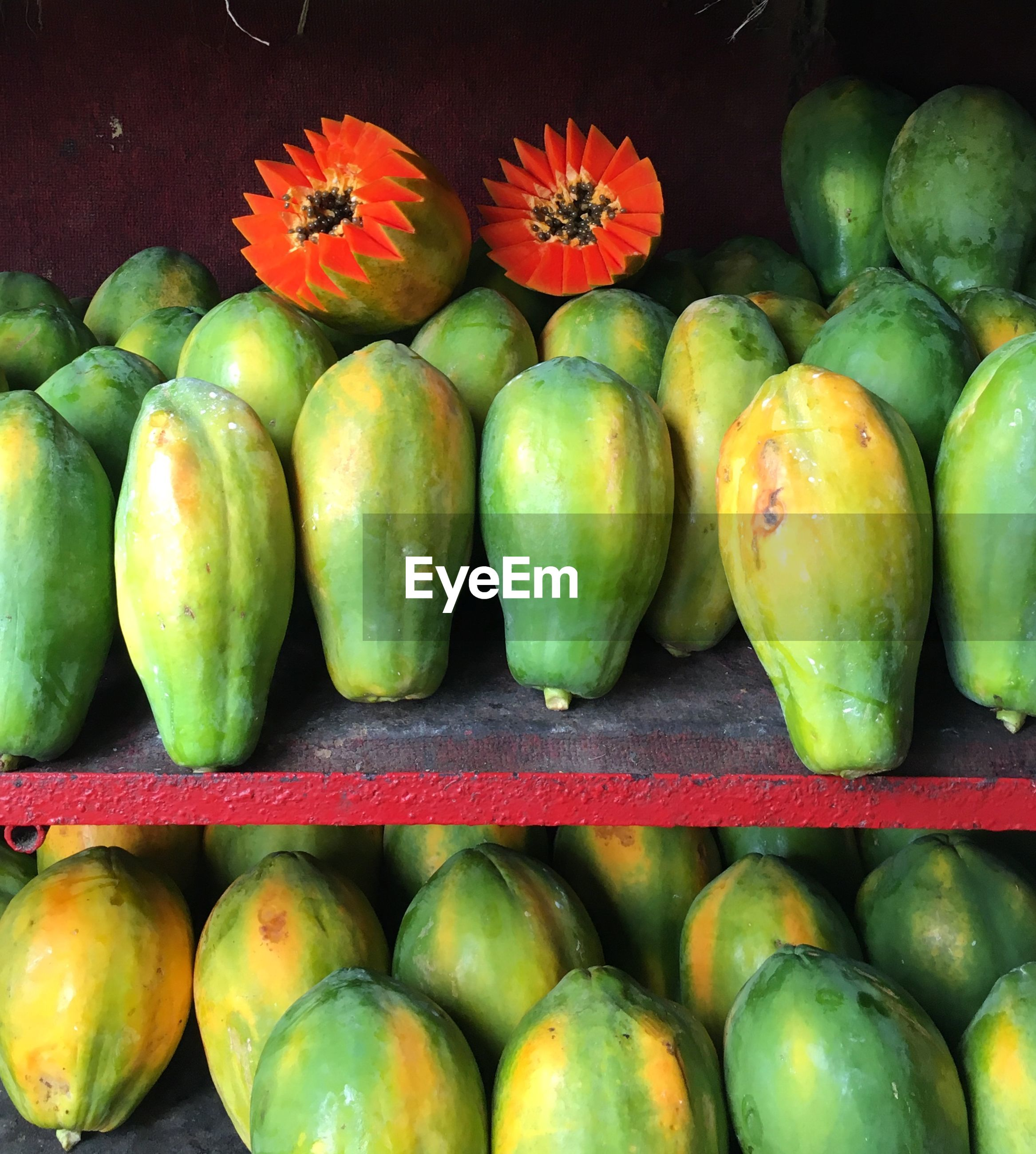 Close-up of papayas for sale