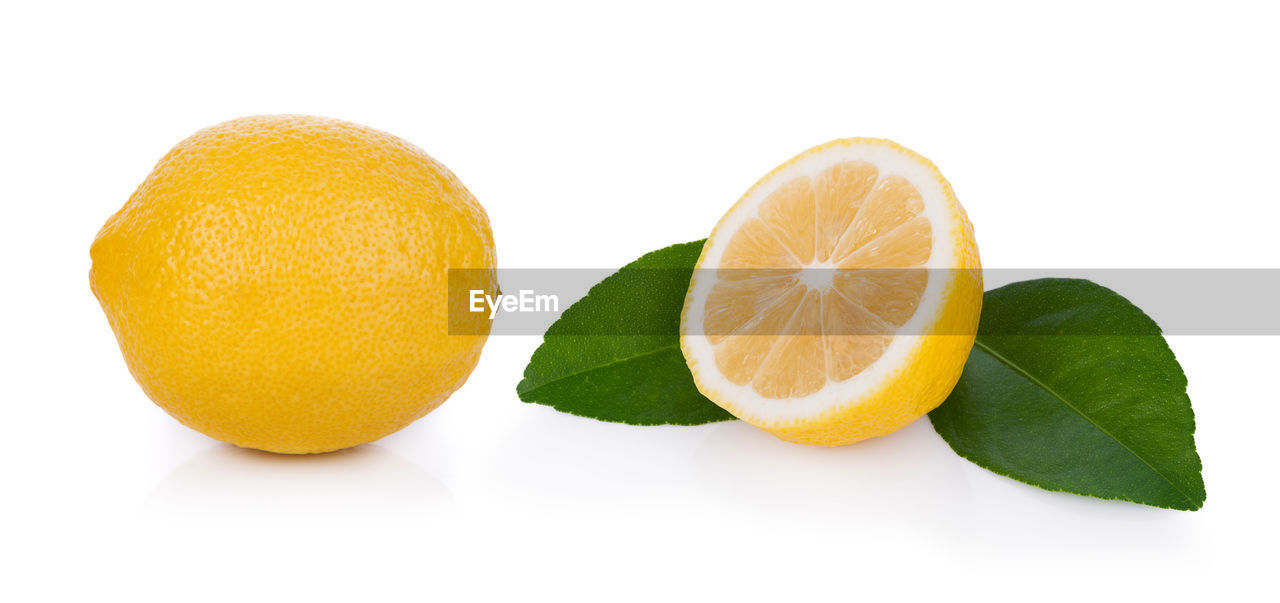 citrus fruit, white background, food and drink, food, fruit, studio shot, leaf, cut out, freshness, lemon, plant part, yellow, healthy eating, orange color, indoors, wellbeing, close-up, still life, no people, orange