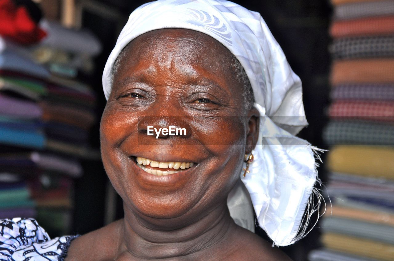 Close-Up Portrait Of Serene Senior Woman