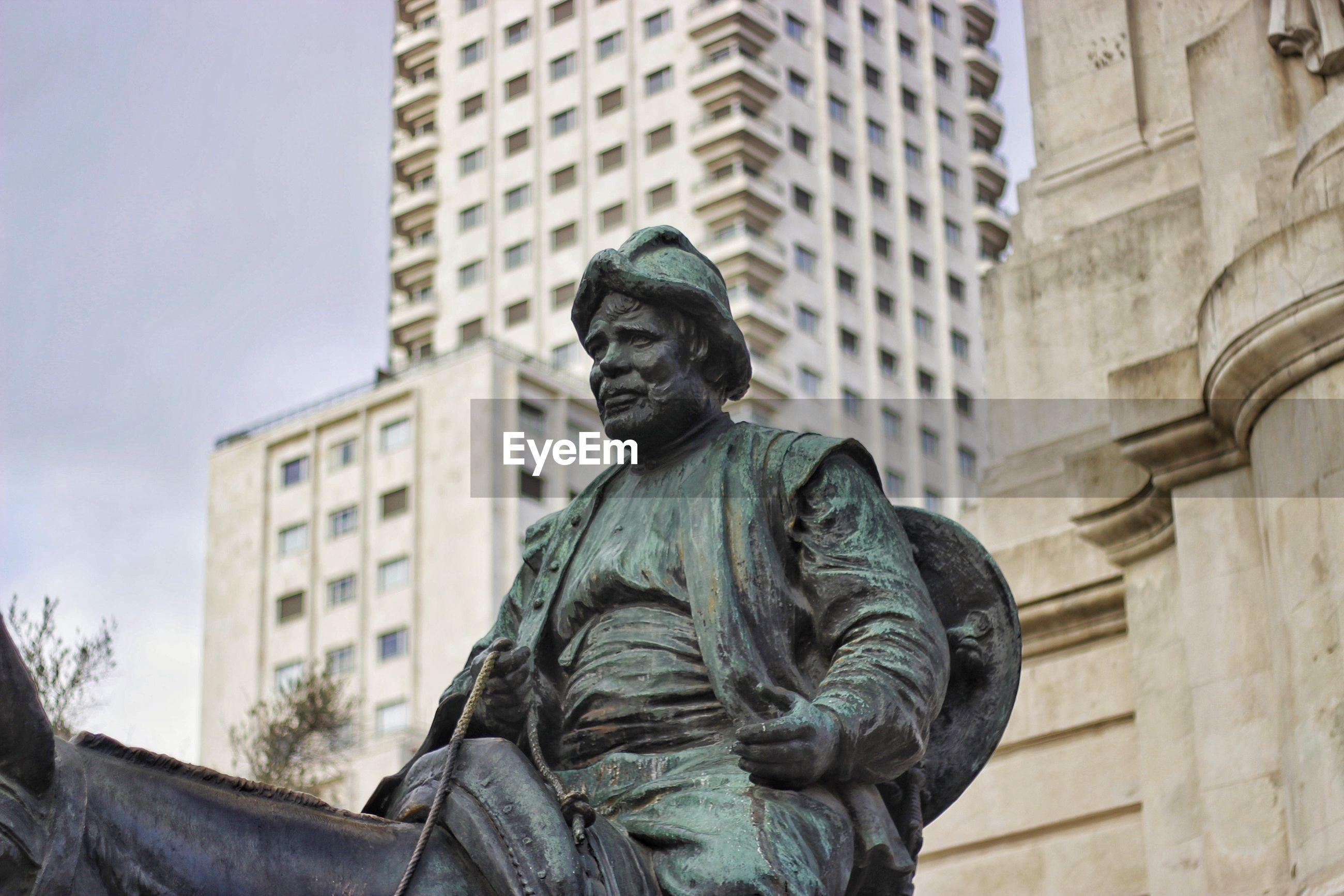 Low angle view of statue at plaza de espana