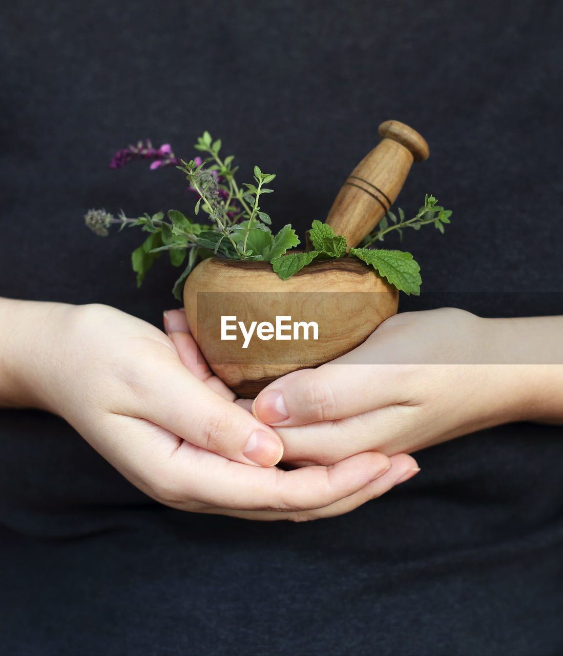 CLOSE-UP OF WOMAN HAND HOLDING FLOWER POT