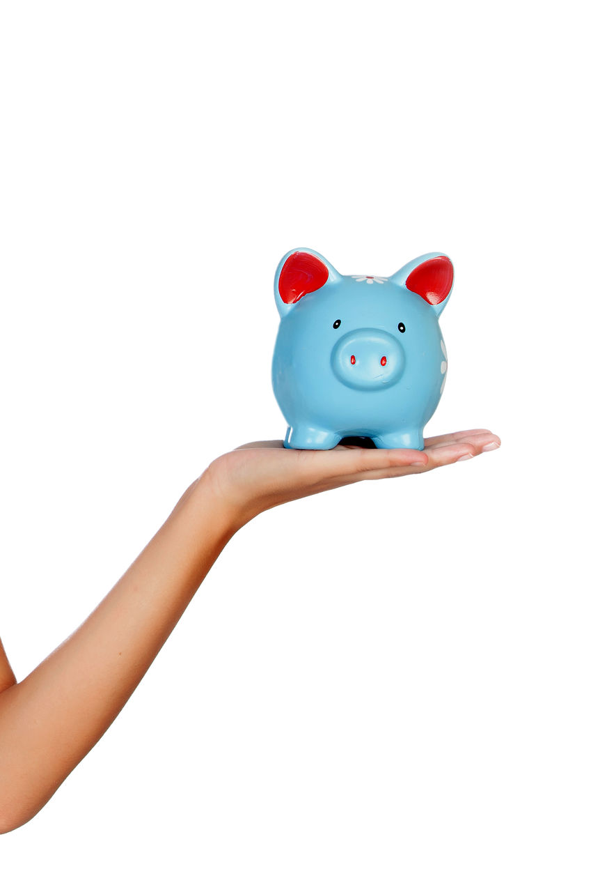 studio shot, white background, copy space, piggy bank, finance, representation, indoors, savings, investment, one person, human hand, cut out, hand, single object, holding, unrecognizable person, currency, toy, coin bank