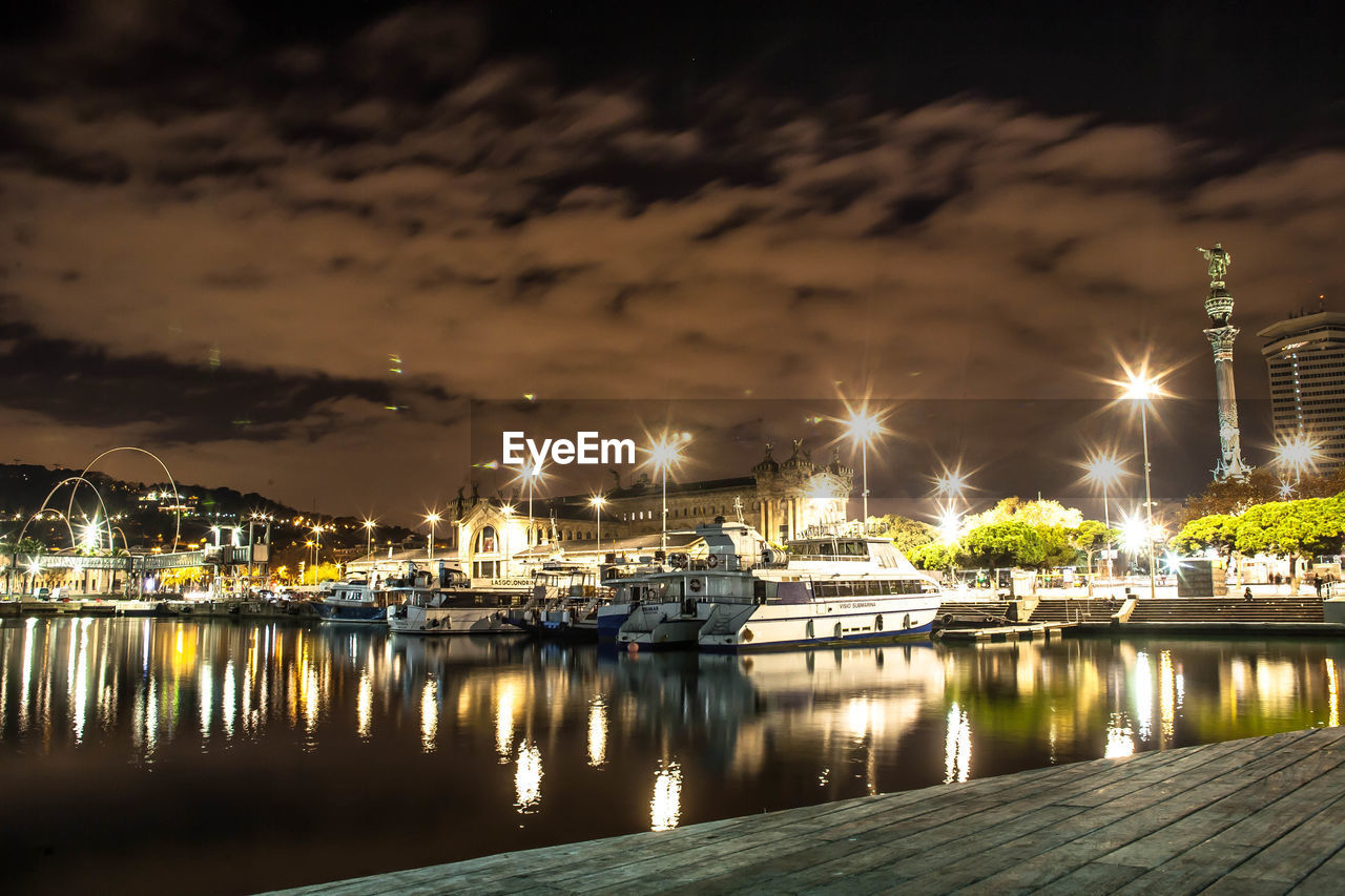 water, night, illuminated, reflection, sky, no people, built structure, architecture, building exterior, nautical vessel, outdoors, harbor, moored, tranquility, nature, beauty in nature, sea, scenics