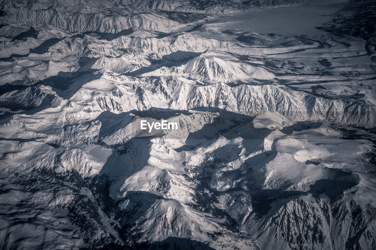 Aerial view of snowcapped landscape