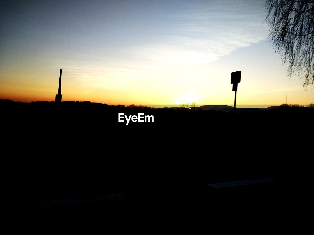 silhouette, sunset, nature, sky, no people, transportation, road sign, scenics, outdoors, beauty in nature, day