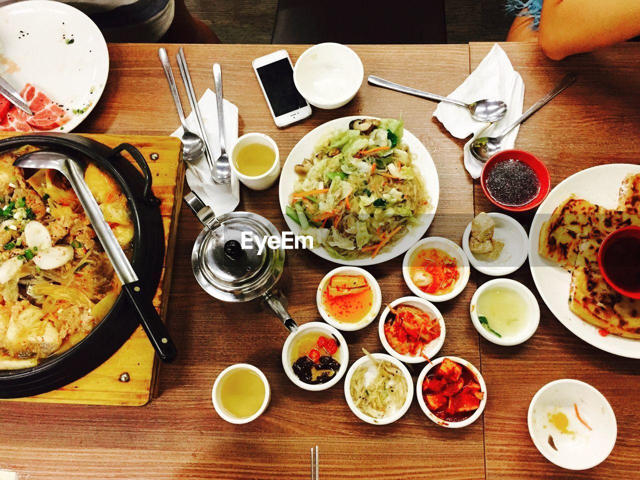High Angle View Of Korean Food On Table