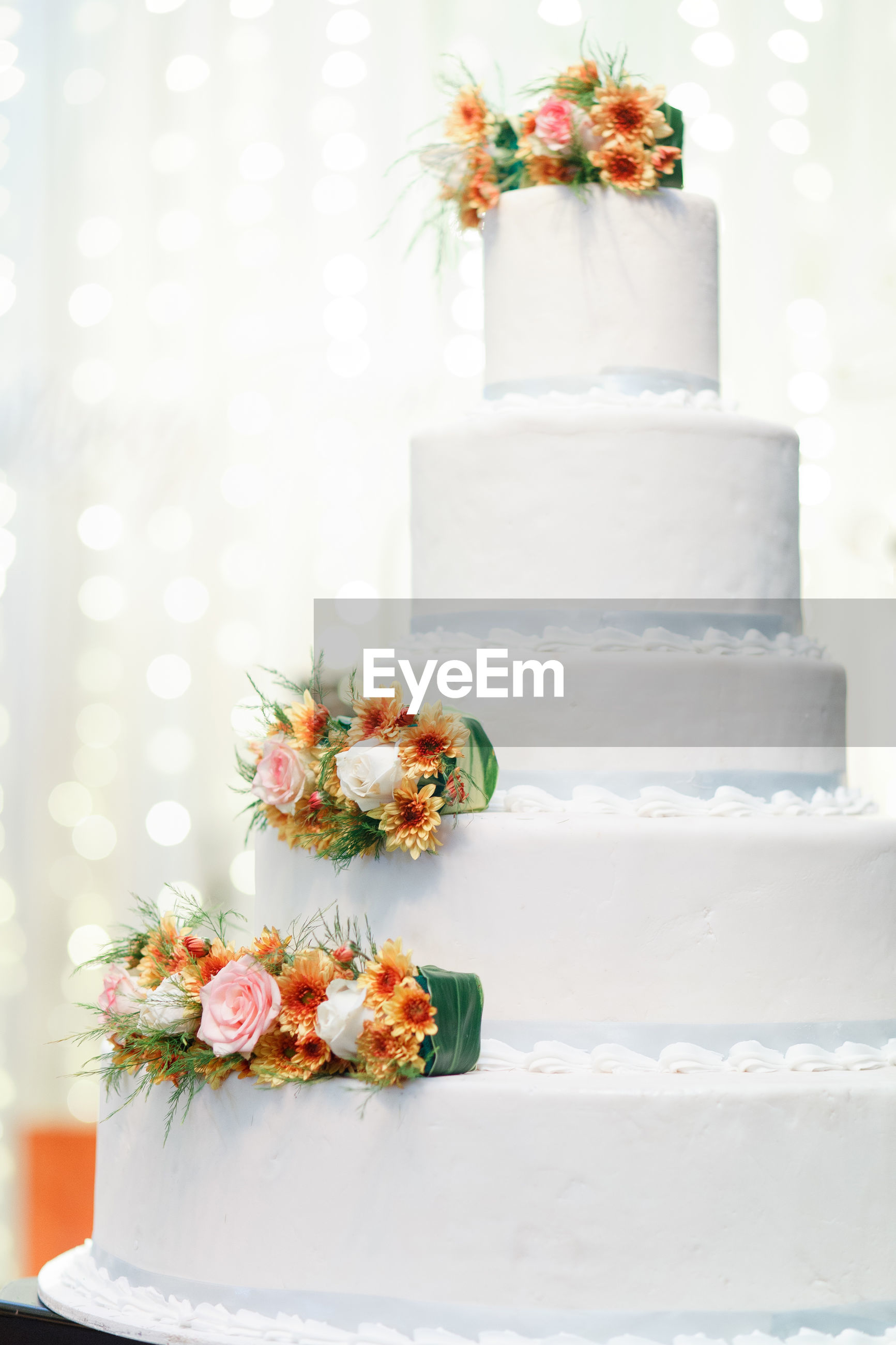 Close-up of flowers on cake