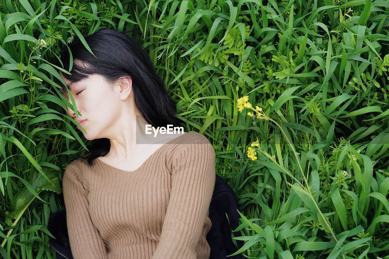 Woman sleeping on plants