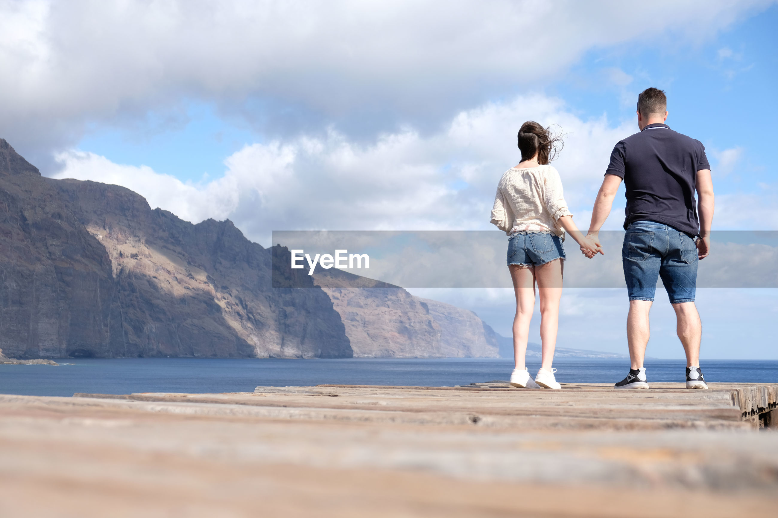 Rear view of couple holding hands while standing at beach against sky