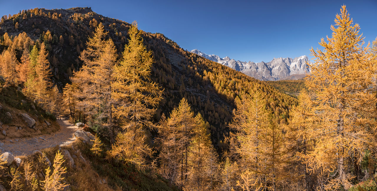 Scenic view of mountains against sky during autumn