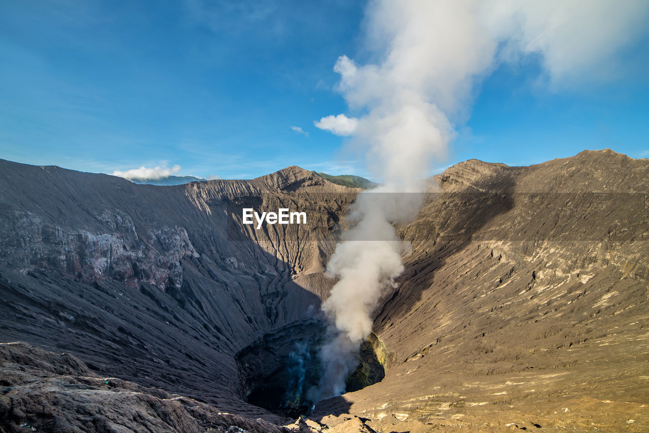 geology, mountain, smoke - physical structure, beauty in nature, scenics - nature, landscape, physical geography, non-urban scene, environment, volcano, emitting, nature, power in nature, day, sky, erupting, volcanic landscape, land, heat - temperature, volcanic crater, no people, outdoors, formation, arid climate