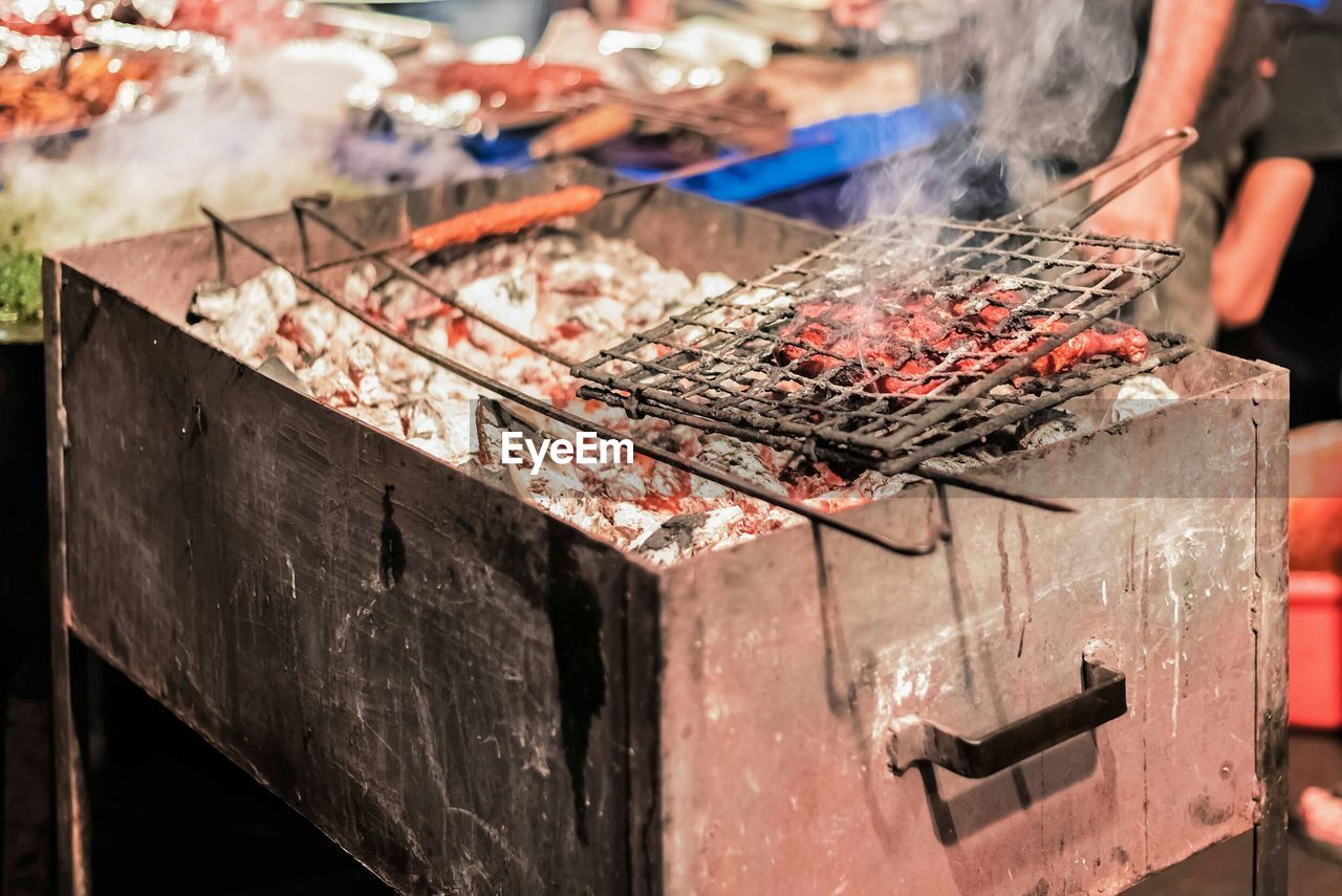 Close-Up Of Heating Coal In Bbq
