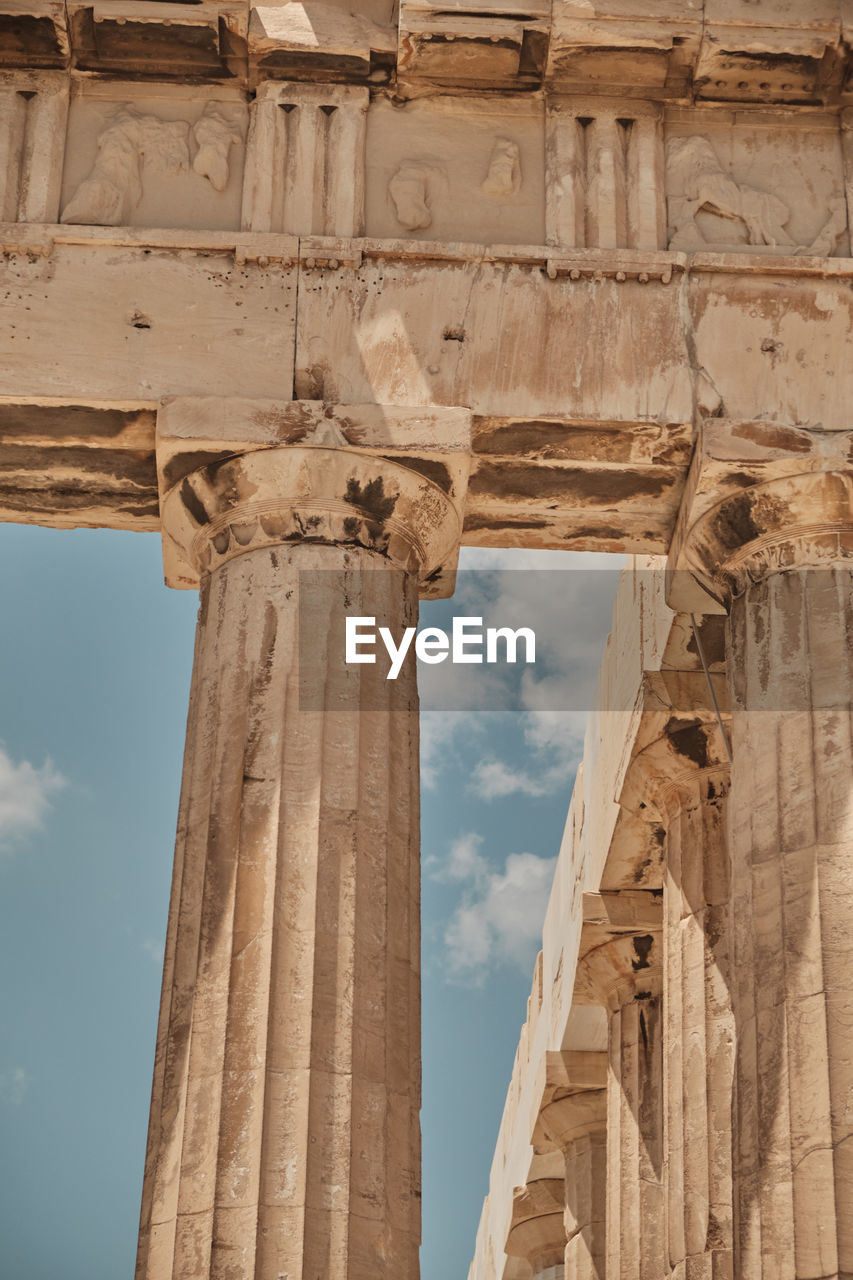 history, architecture, the past, built structure, architectural column, ancient, low angle view, old ruin, sky, ancient civilization, travel destinations, no people, tourism, bad condition, travel, old, run-down, damaged, day, weathered, archaeology, ruined, outdoors, deterioration