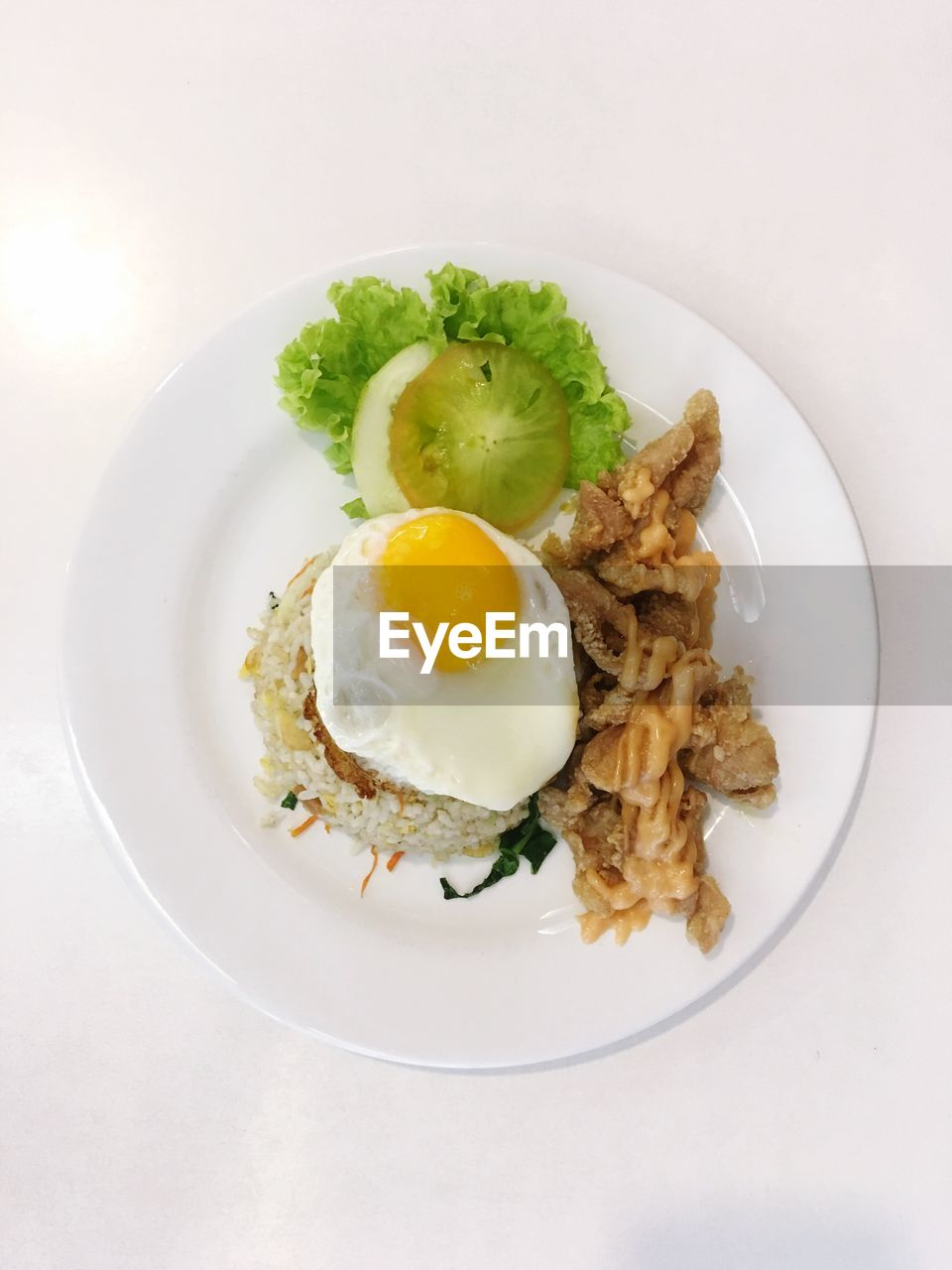 Breakfast in plate on white background
