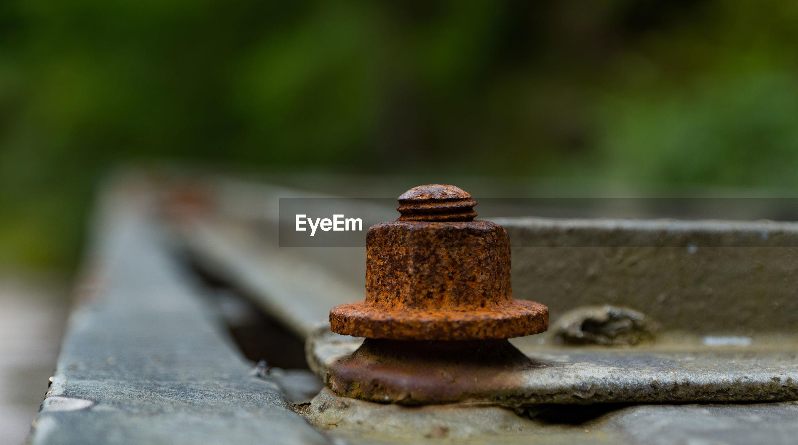 Close-up of rusty bolt