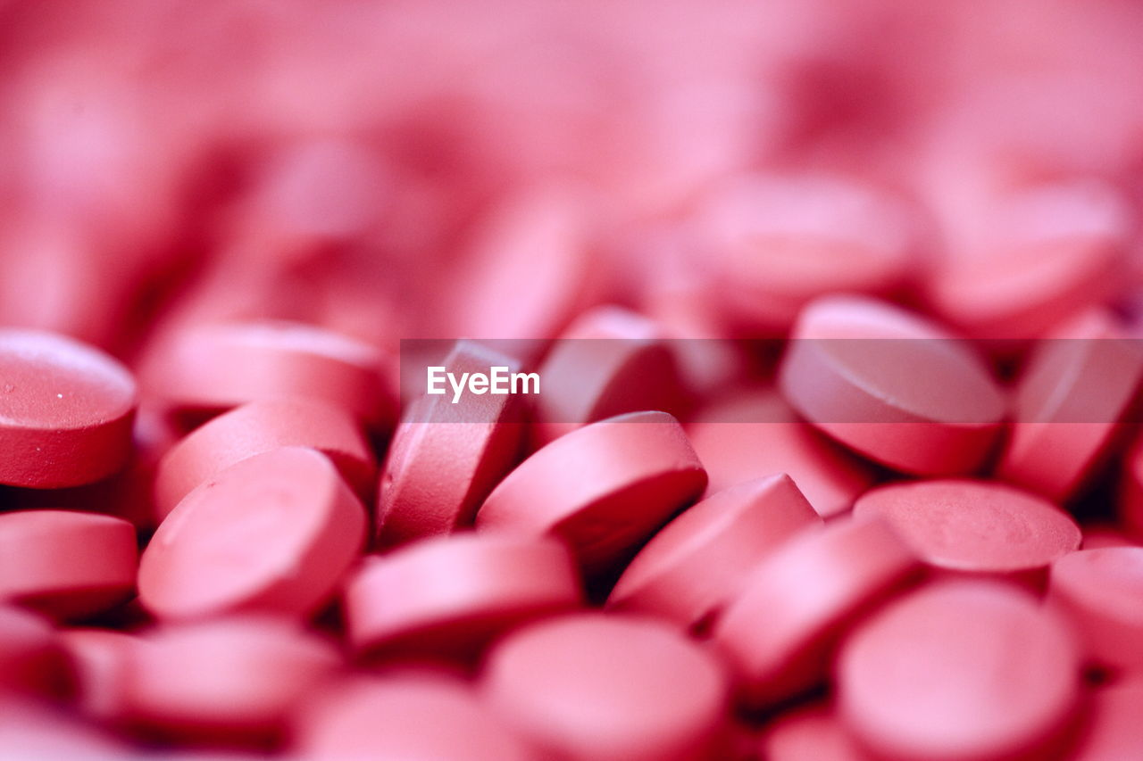 Close-up of pink pills