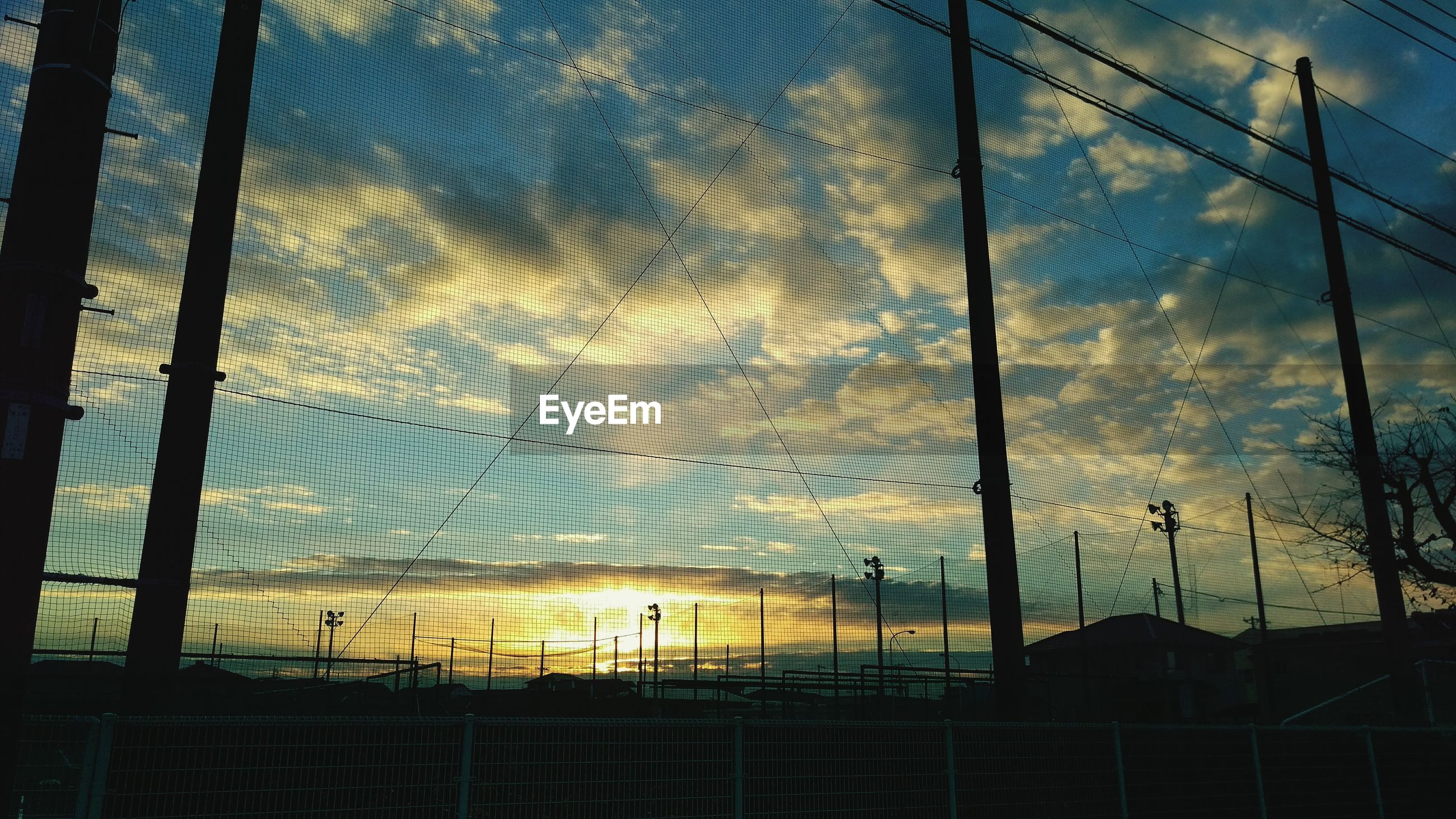 cloud - sky, sky, no people, cable, built structure, low angle view, outdoors, building exterior, sunset, day, architecture, nature, electricity pylon, beauty in nature