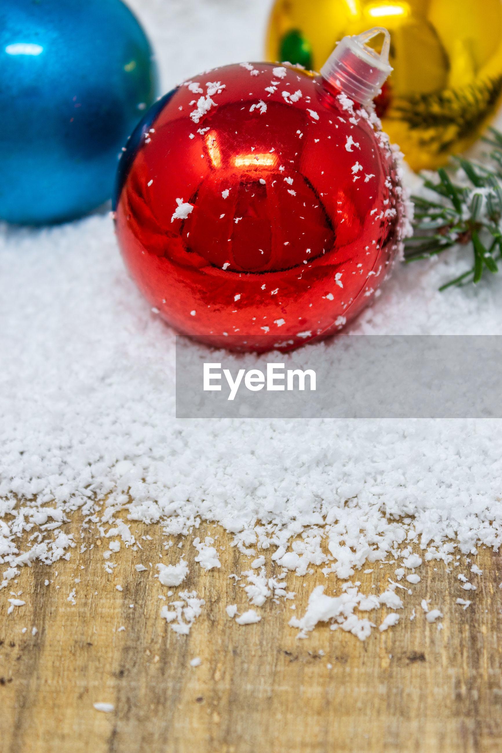 High angle view of christmas ball on table
