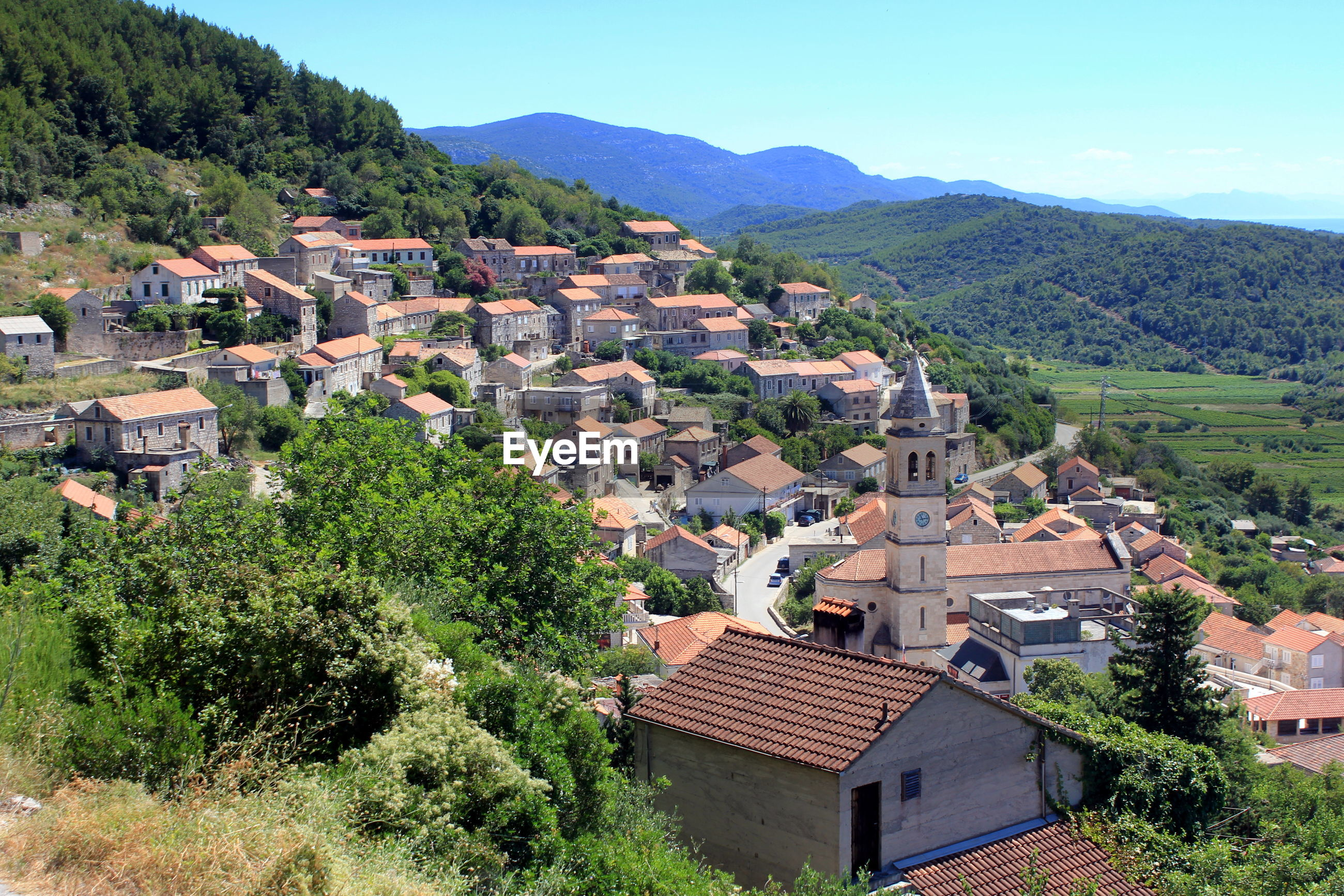 High angle view of town on mountain at korcula island