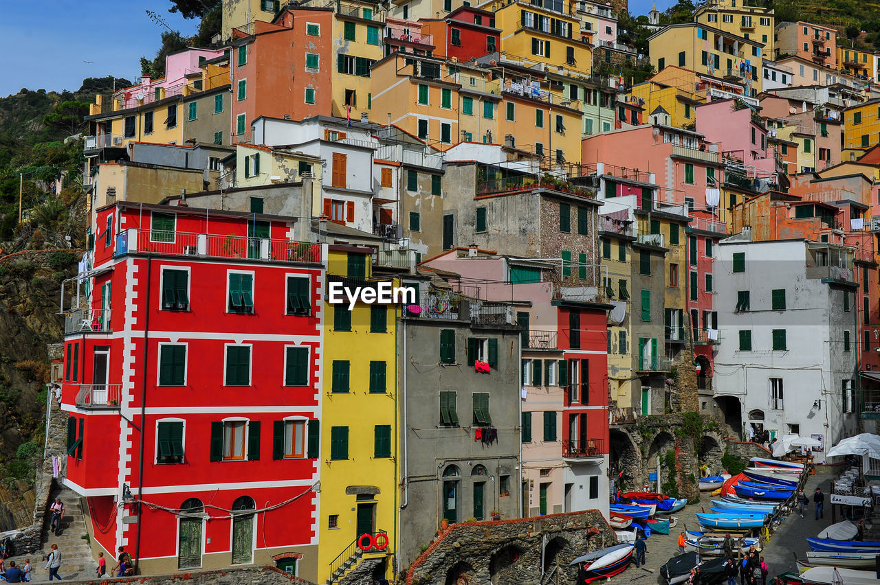 Low Angle View Of Colorful Buildings On Hill
