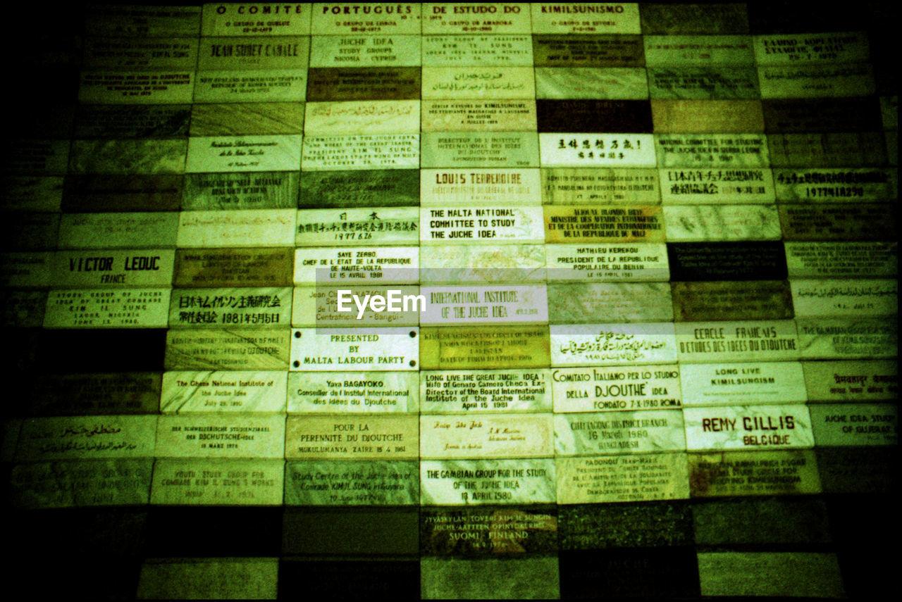 Full Frame Of Nameplates On Wall