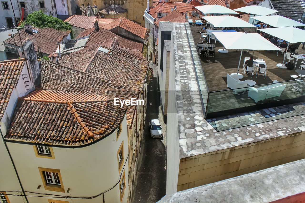 HIGH ANGLE VIEW OF BUILDINGS BY SWIMMING POOL
