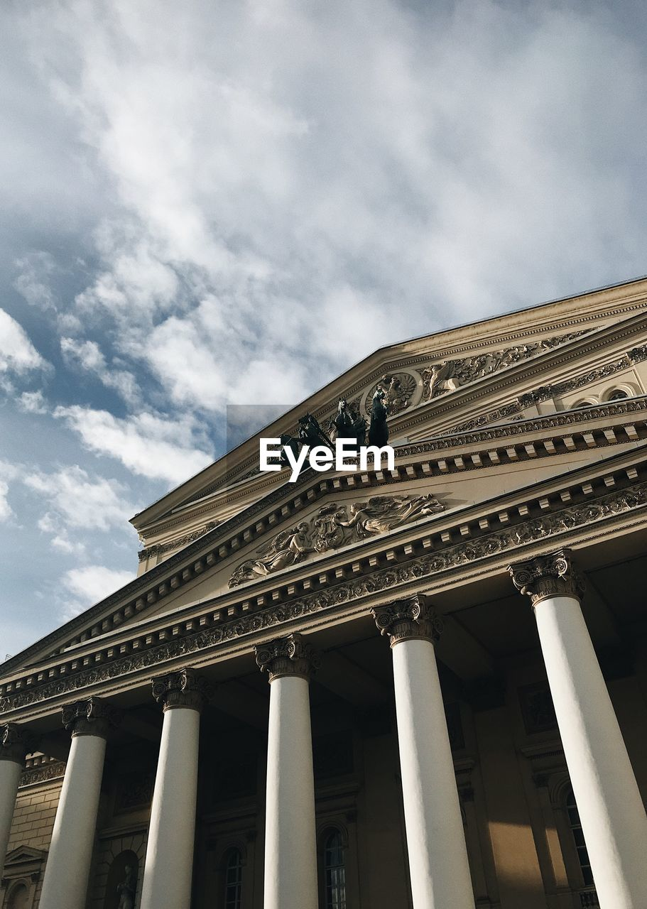 Low angle view of bolshoi ballet theater against sky