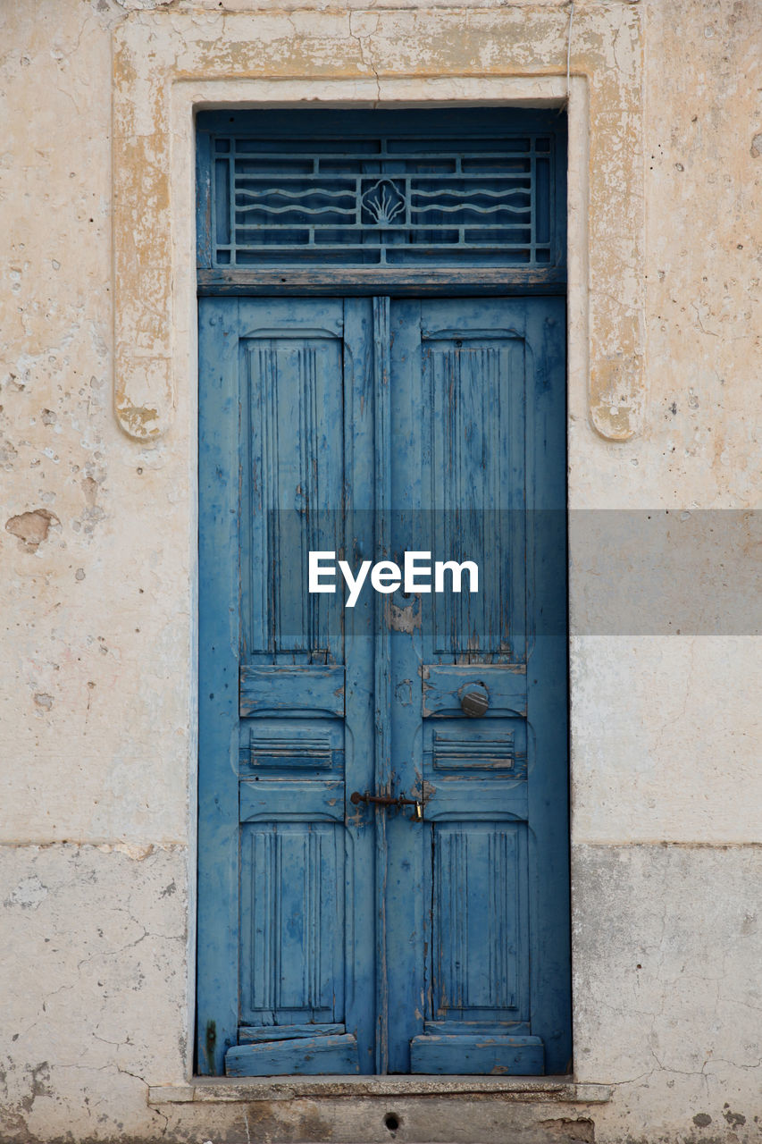 door, entrance, closed, safety, architecture, building exterior, wood - material, security, built structure, no people, protection, old, house, building, blue, front door, day, lock, outdoors, wood