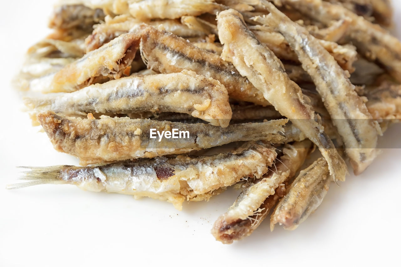 Close-Up Of Anchovies In Plate On Table