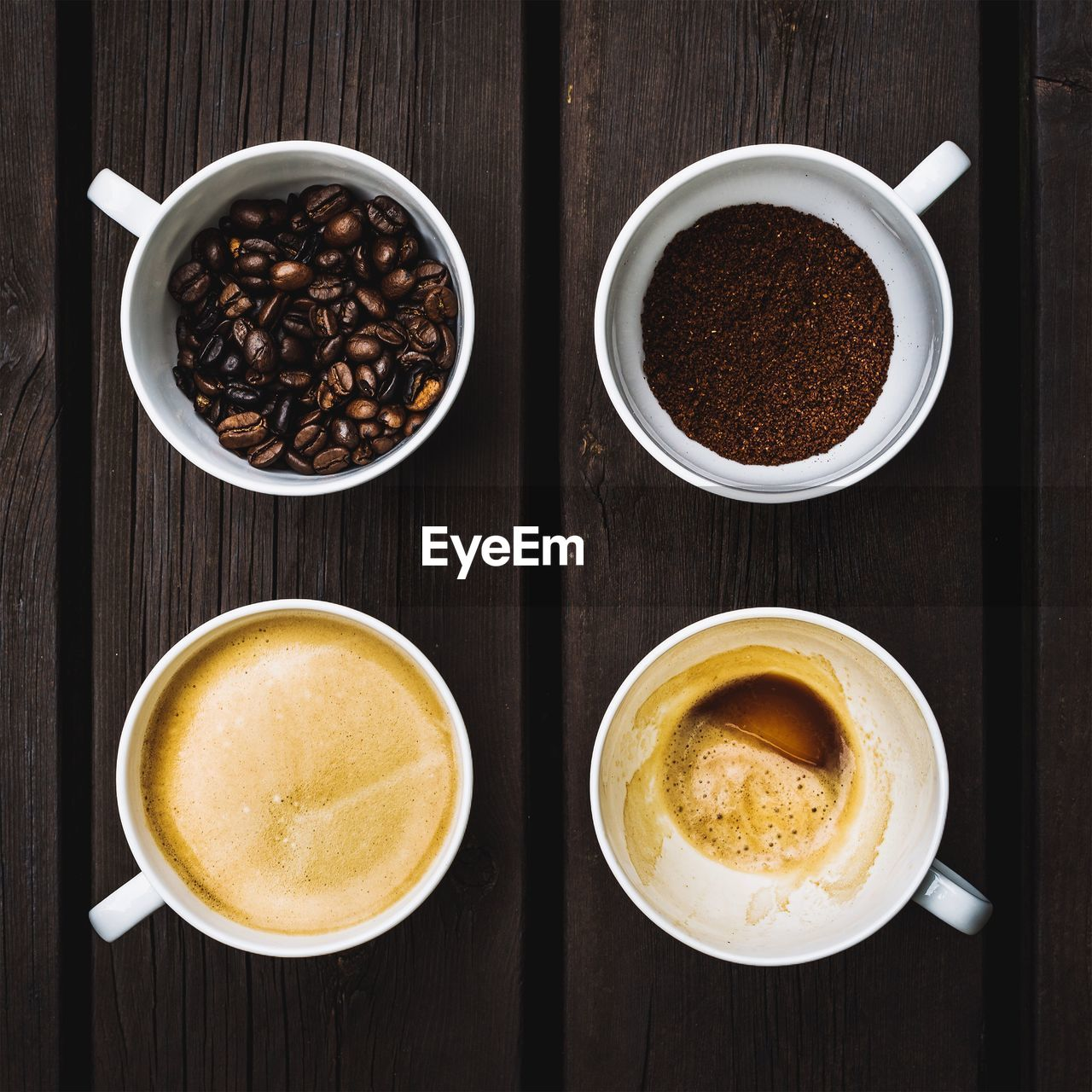 Directly Above Shot Of Coffee With Beans On Table
