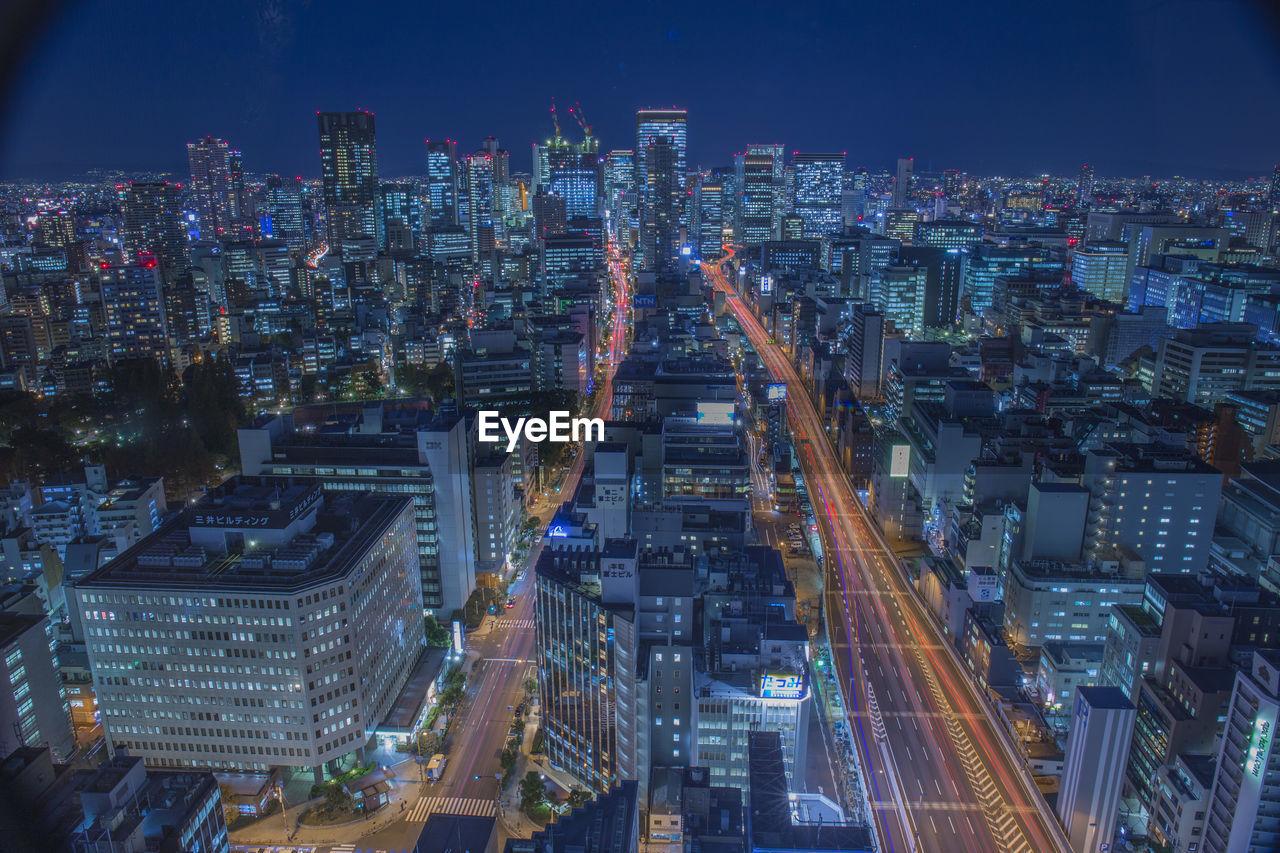 High Angle View Of Illuminated Osaka Prefecture During Night