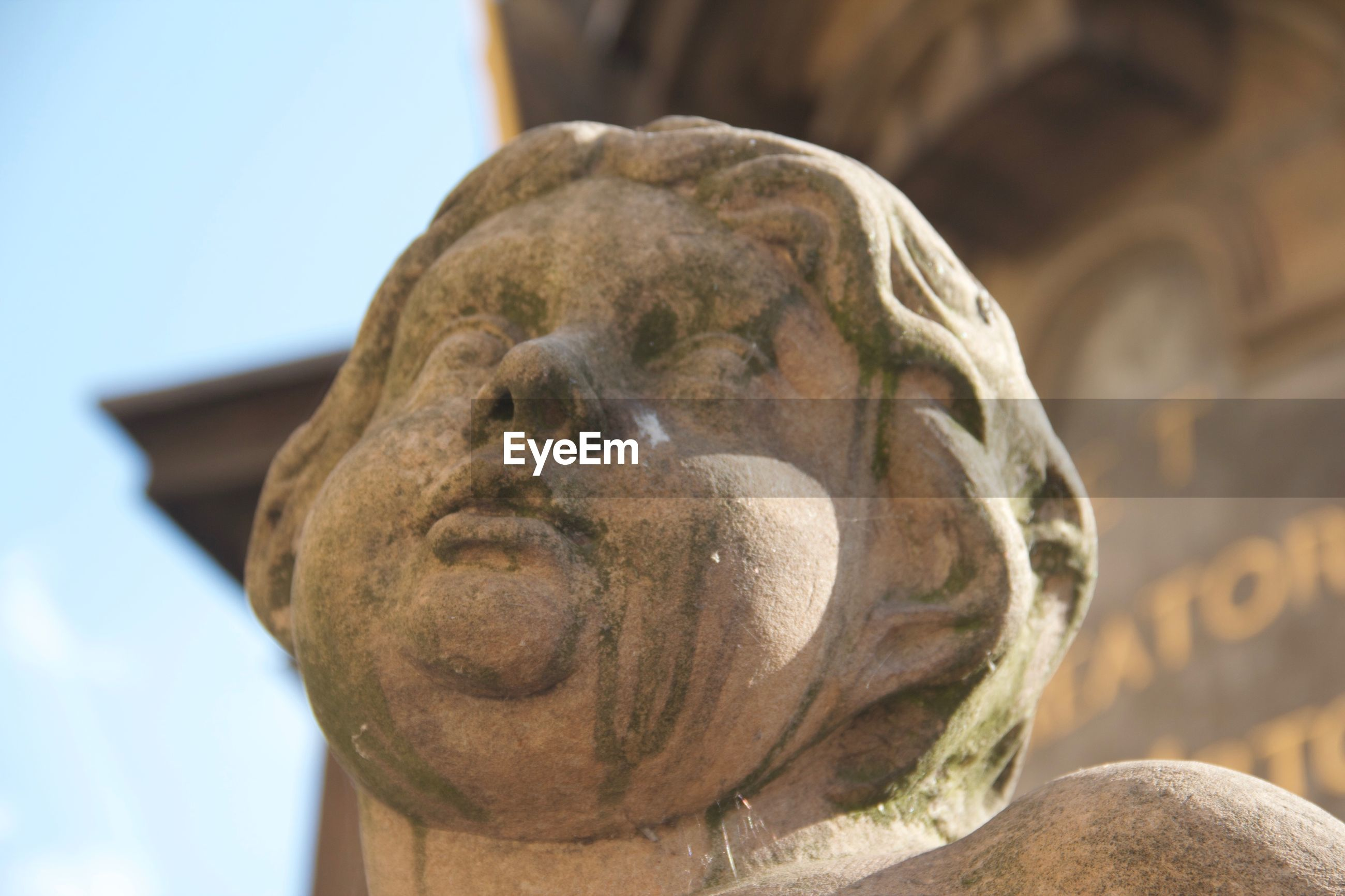 LOW ANGLE VIEW OF STATUE AGAINST BLURRED BACKGROUND