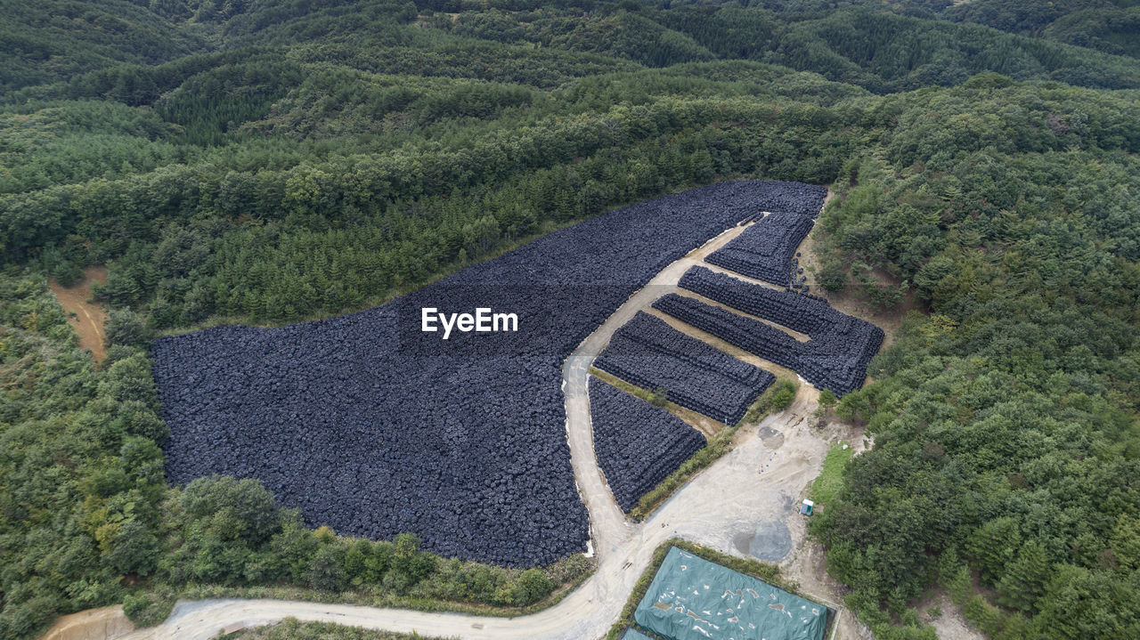 High angle view of nuclear waste storage after fukushima disaster