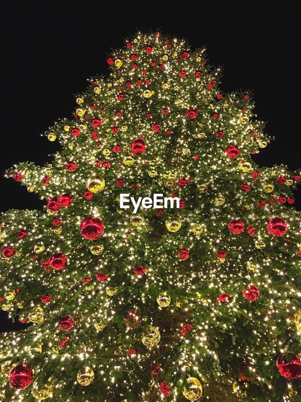 christmas, christmas tree, celebration, christmas decoration, decoration, christmas ornament, tree topper, tradition, christmas lights, no people, tree, night, low angle view, vacations, illuminated, outdoors