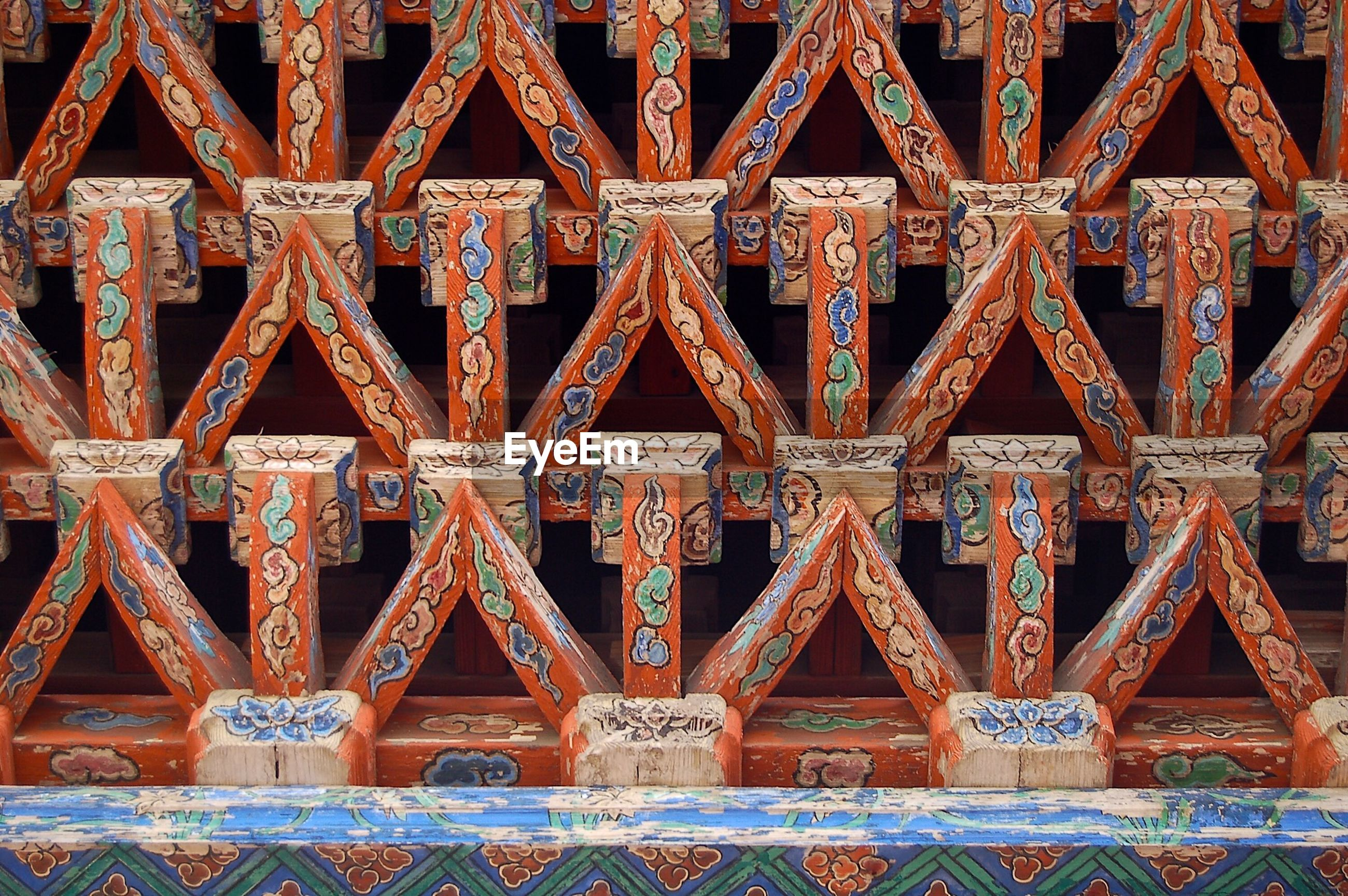 Wooden architecture in buddhist temple