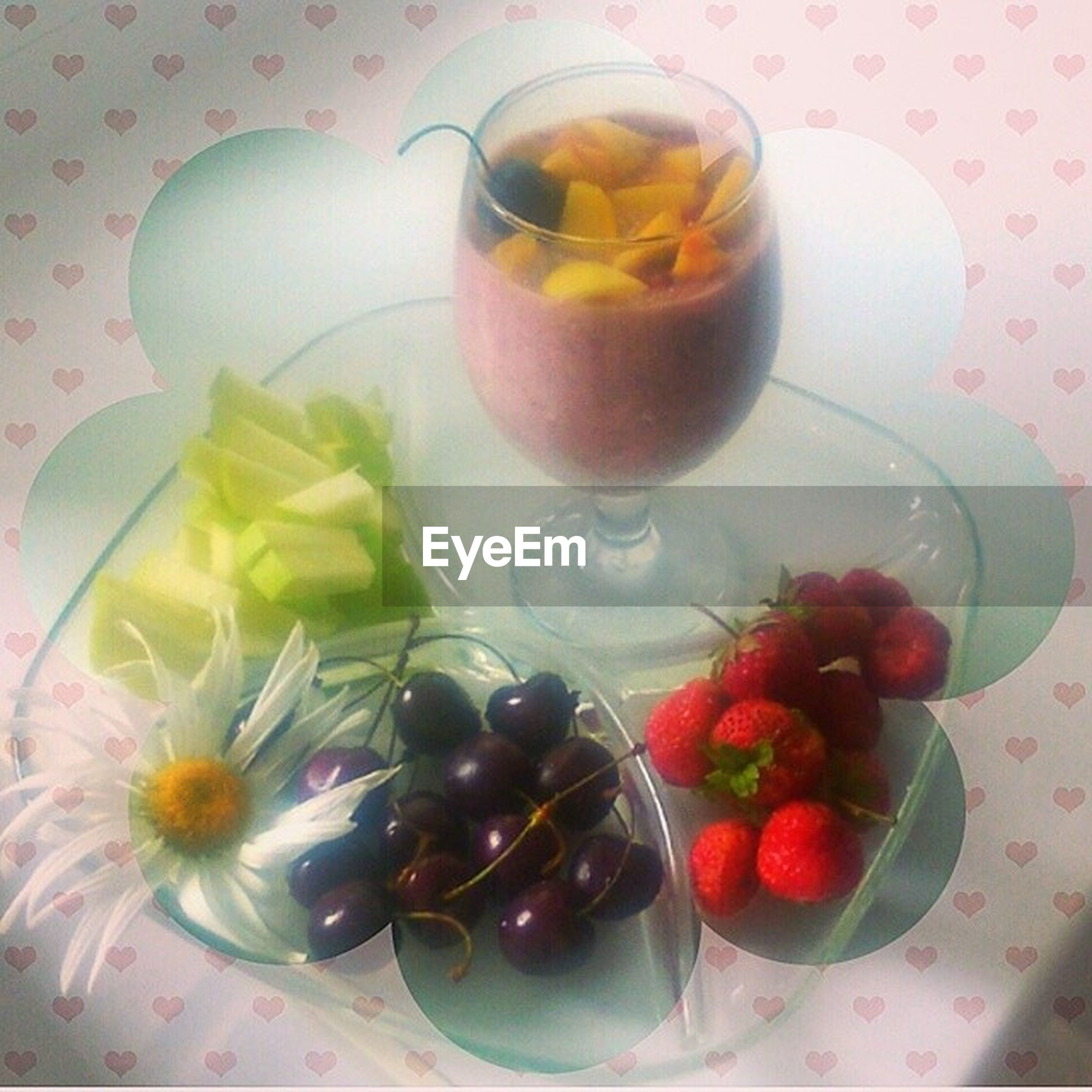 food and drink, indoors, freshness, food, fruit, table, still life, healthy eating, plate, high angle view, drink, refreshment, bowl, ready-to-eat, directly above, spoon, close-up, strawberry, no people, sweet food