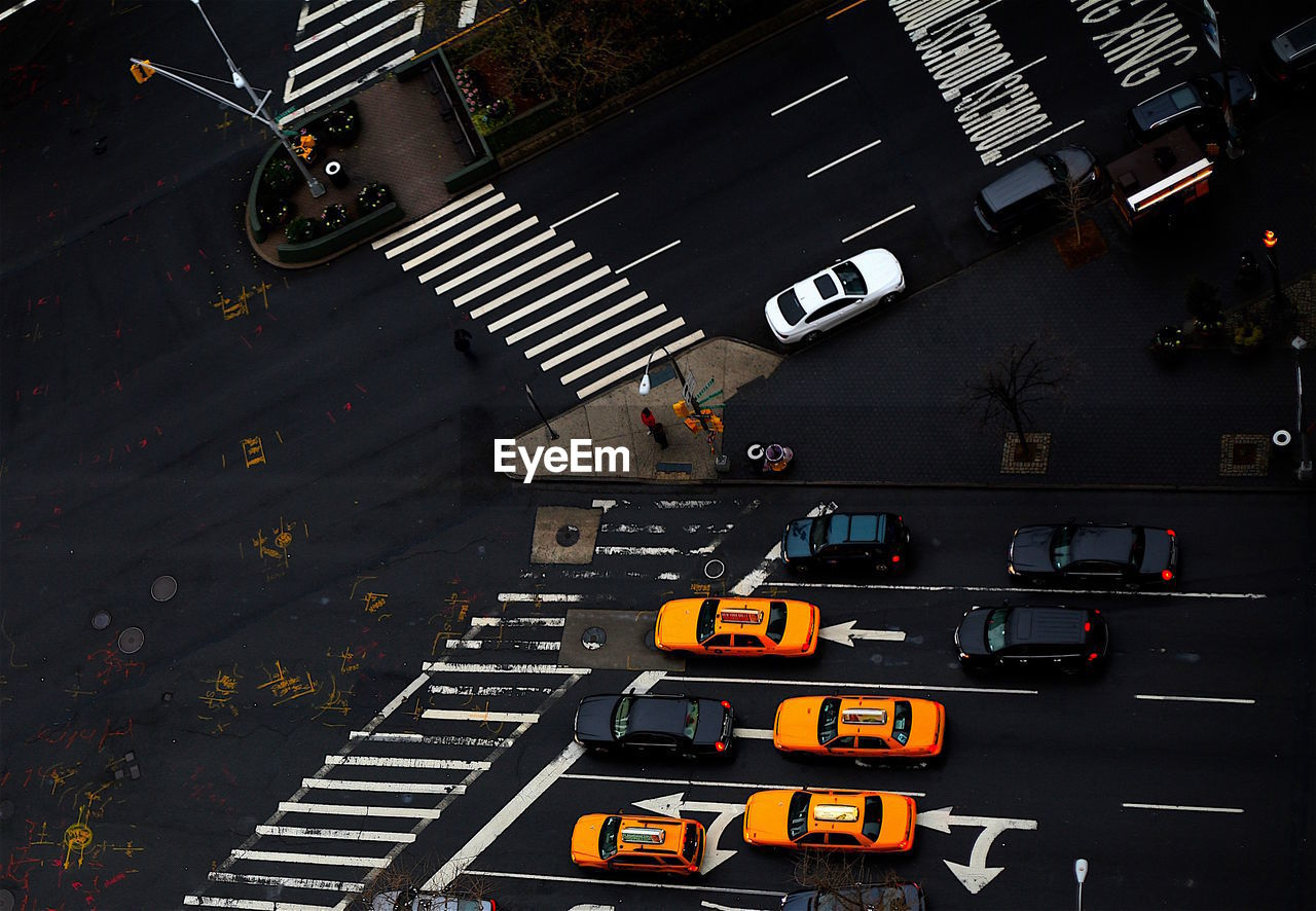 High Angle View Of Cars At Road Intersection
