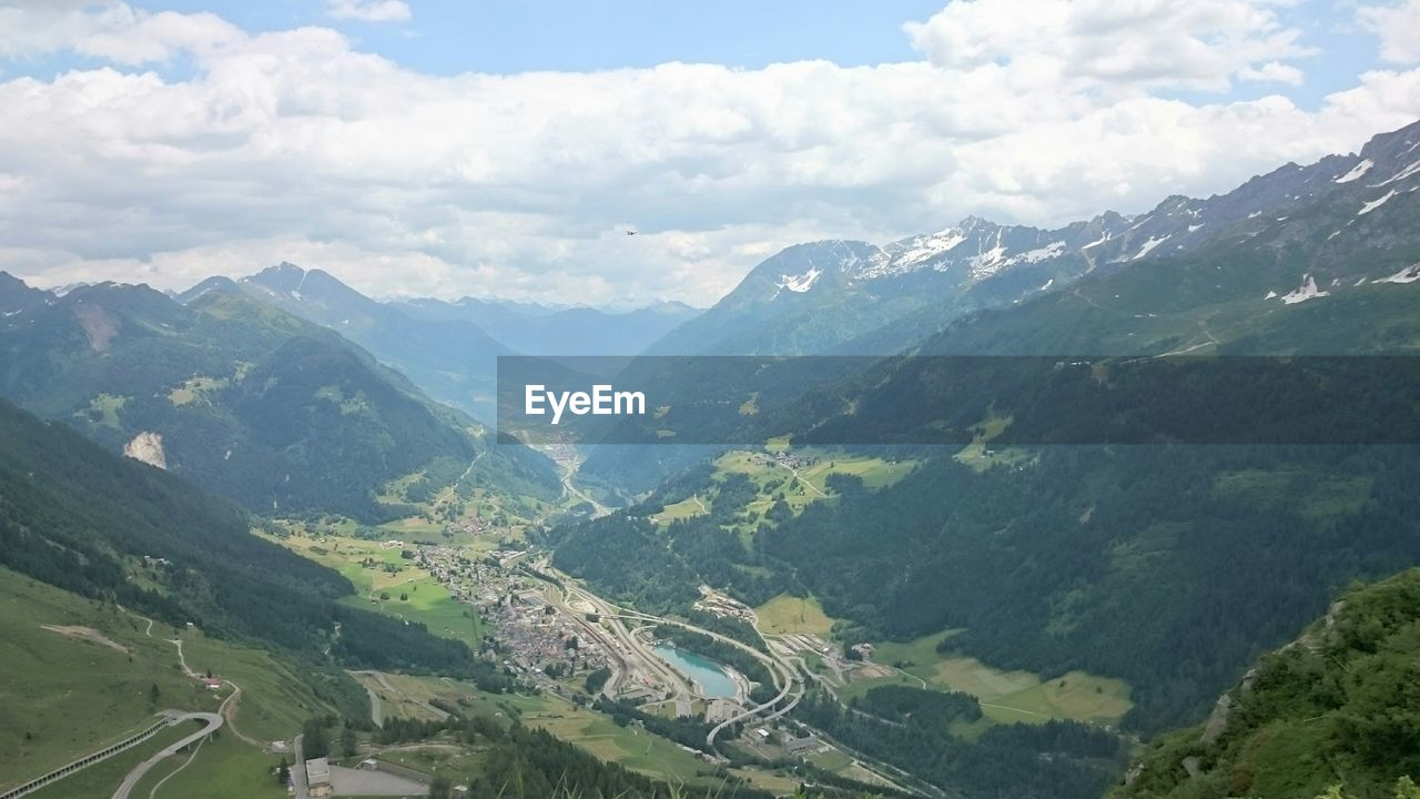 Scenic view of gotthard pass valley in european alps